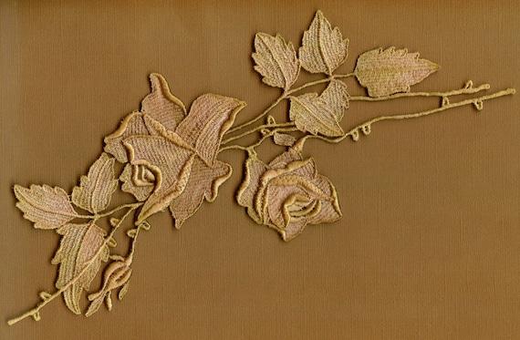Hand Dyed Venise Lace Rose Applique Vintage Tea Stain Blush