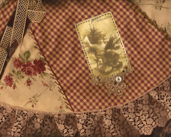Christmas Rose Crazy Quilt Tree Skirt Vintage Lace Victorian Children Images Small