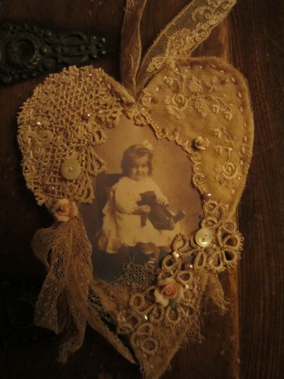 Sweet Girl with her vintage Teddy Bear  vintage lace Collage Heart Ornament