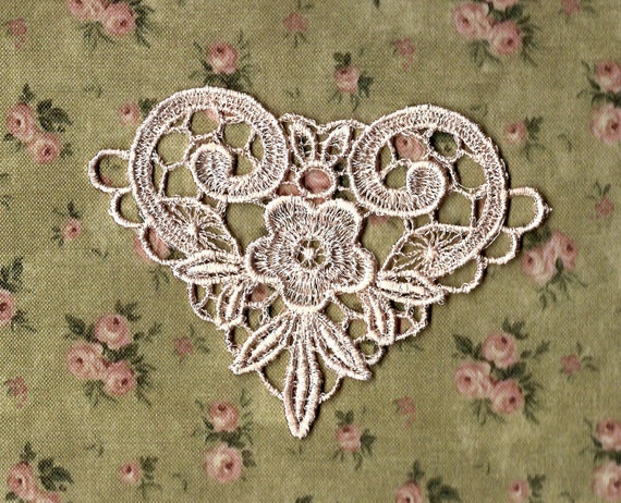 Hand Dyed Venise Lace Applique Victorian Scroll Heart  Vintage Pale Blush