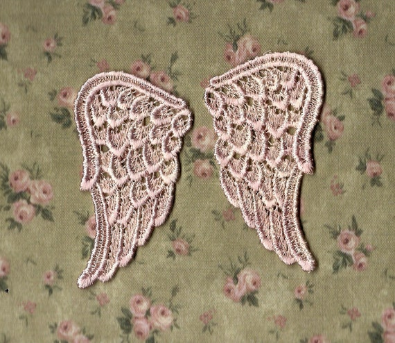 Hand Dyed Venise Lace Sweet Angel Wings Appliques  Creme Blush