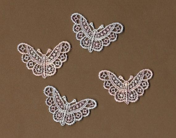 Hand Dyed Venise Lace Appliques Butterfly Kisses Vintage  Blush Bluette