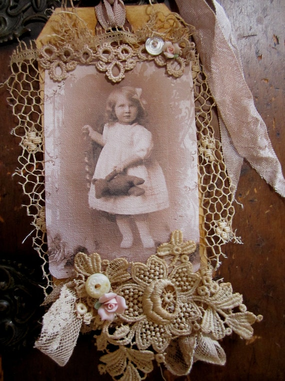Vintage Lace Collage Sweet Girl with her Teddy Bear Embellished Tag