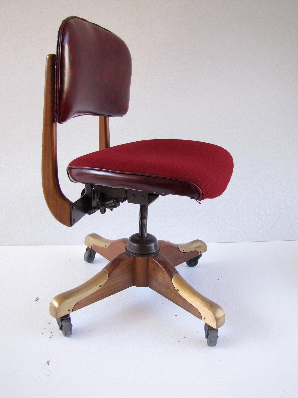 Vintage W H Gunlocke secretarial Chair Walnut Very Nice