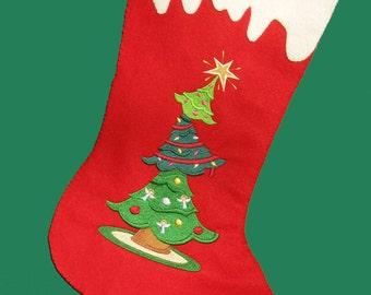 Christmas stocking tree stack felt