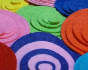 48 Felt Circles- 8 sets ( 6 different sizes per set- 48 total circles)