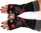 Flamenco black mittens   with gray guffs ,Gift under 25 ,christmas,  unique, modern,  chic - Ready  to  Ship