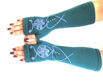 Long turquoise fingerless gloves with blue flower  christmas gifts