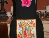 Virgin Mary Latin Blue Full Apron