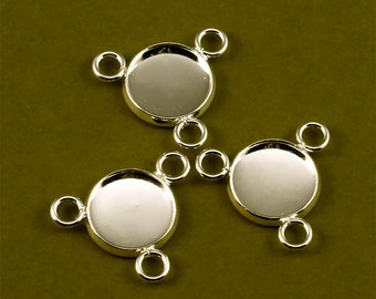 10pcs 12mm BRASS Base Trays three loop silver tone blank pendant