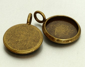 40pcs 12mm BRASS Base Trays antique bronze blank pendant