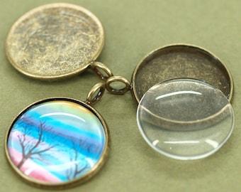 10pcs 18mm BRASS base Trays antique bronze blank pendant