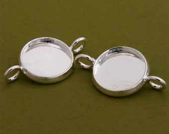 40pcs 12mm BRASS Base Trays Double ring silver tone pewter blank pendant