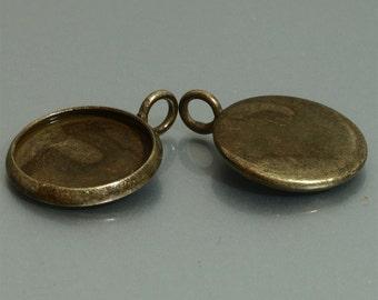 20pcs 14mm BRASS Base Trays antique bronze blank pendant