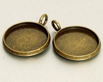 10pcs 16mm BRASS Base Trays antique bronze blank pendant