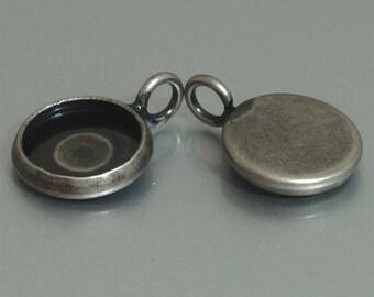 10pcs 10mm BRASS Base Trays antique silver blank pendant