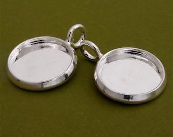 20pcs 14mm BRASS Base Trays  silver tone pewter blank pendant