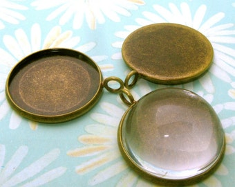 10pcs 23mm BRASS Base Trays antique bronze blank pendant