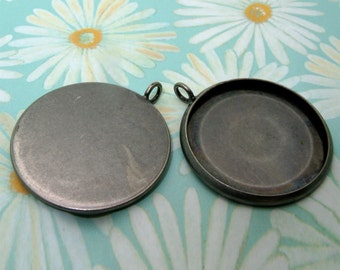 20pcs 27mm BRASS base Trays antique silver blank pendant