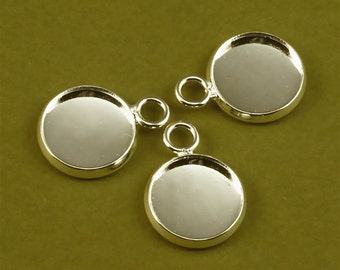 20pcs 12mm BRASS Base Trays The same side of the loop silver tone blank pendant