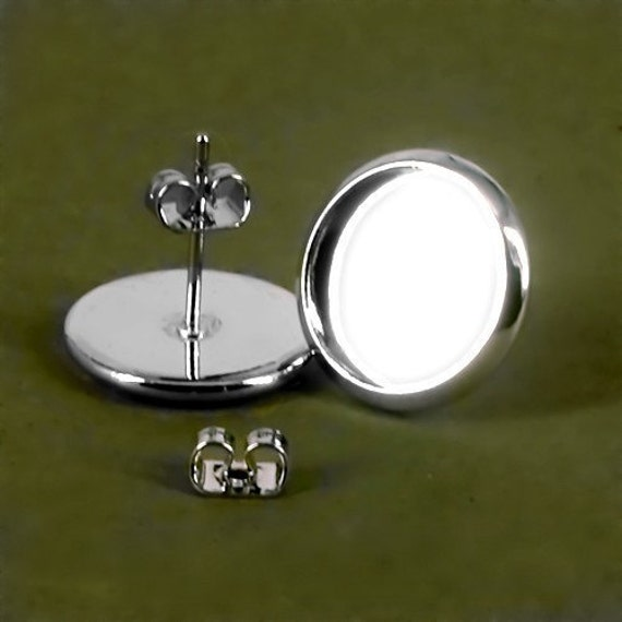 20 pairs (40pcs)12mm BRASS Base Trays silver tone blank Earrings