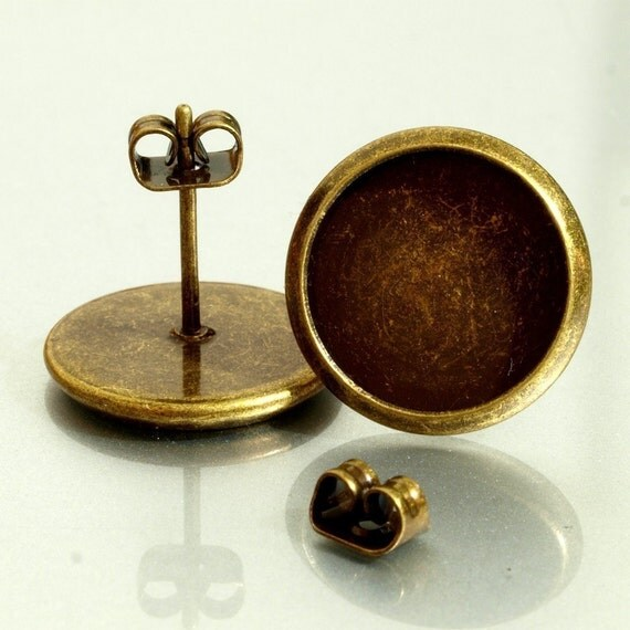 20pairs (40pcs)12mm BRASS Base Trays antique bronze blank Earrings
