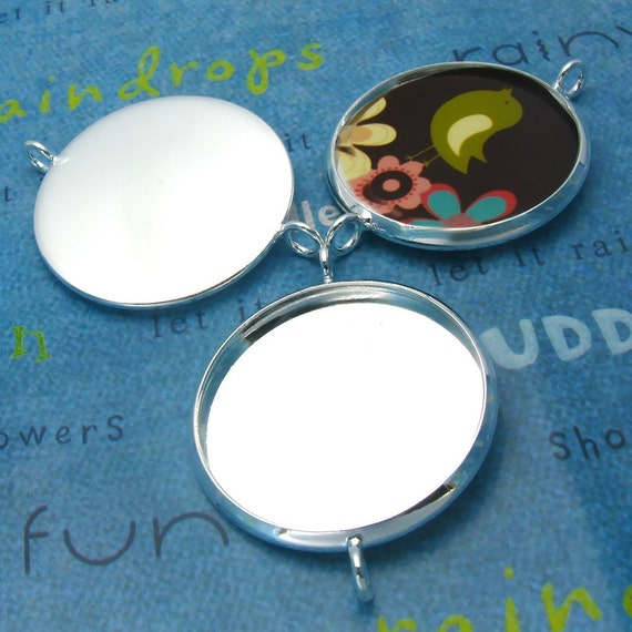 10pcs 27mm BRASS Base  Trays Double ring silver tone pewter blank pendant