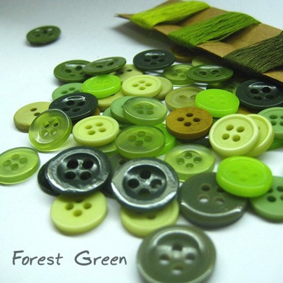 50pcs Forest Green  Buttons
