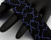 Beaded Bracelet, Cracked Narrow, Cobalt Blue on Matte Black