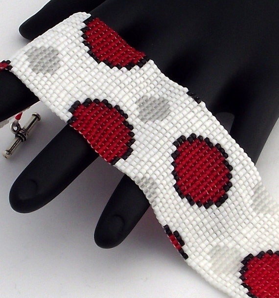 Beaded Bracelet, Spots Narrow, Matte Red and Matte Crystal on Matte White
