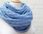 Fine cable knit scarf in Cornflower Blue - Malibu