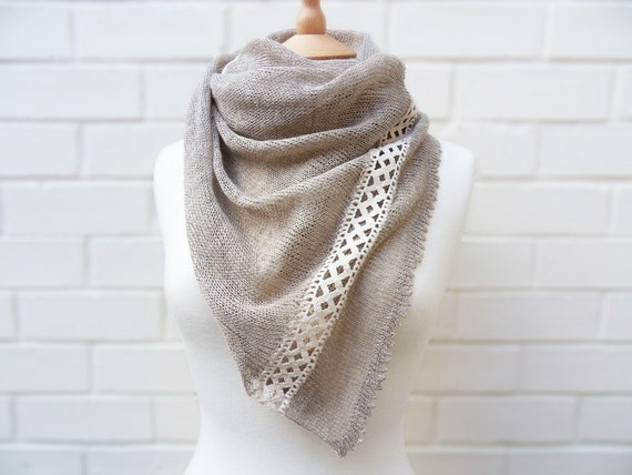 Fine Scarf in Irish Linen and Lace - Nomad