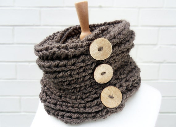 Chunky Knit Cowl in Warm Chestnut Brown