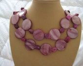 Bubblegum Dream, Pink Mother of Pearl, Crazy Lace Agate Necklace