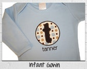 Monogrammed Baby Gown with Blue and Brown Dots - Name and Initial