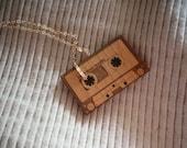 Vintage Cassette Necklace - gold
