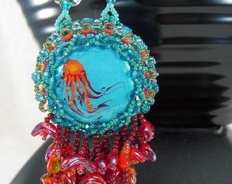 Beaded Jellyfish Bottle Cap Necklace