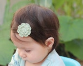 Eco friendly green bamboo thread crochet baby hair clip