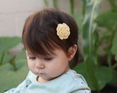 Eco friendly yellow bamboo thread crochet baby hair clip