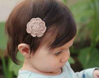Eco friendly mushroom color bamboo thread crochet baby hair clip