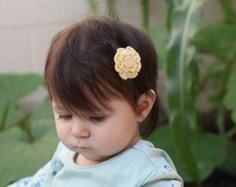 Eco friendly yellow bamboo thread crochet baby hair clip