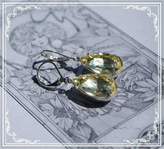 Vintage Lemon Yellow Diamond Earrings