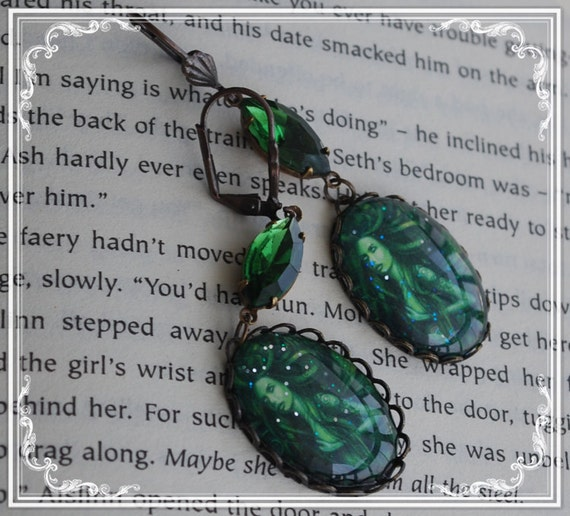Vintage Green Faerie Antique Bronze Earrings - Emerald Forest - Green Faerie - Absinthe - Gothic Faerie