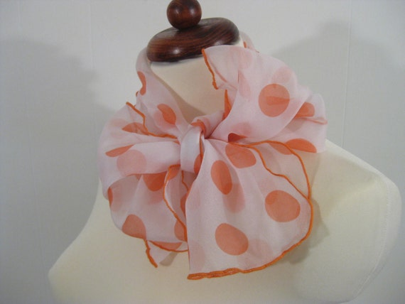Vintage Chiffon Polka Dot Scarf Mandarin Orange and White