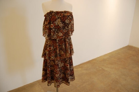 Lovely Brown Floral Tiered Ruffle Dress from 1970s