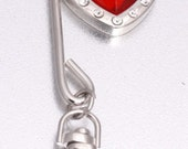 Super Cute, Red Heart Shaped, Key chain - Purse hook