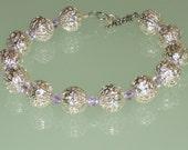Stunning Sterling Silver Filigree Bracelet with Violet Swarovski Crystals