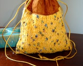 Earth Mother Hand-knit Cotton and Silk Drawstring Shoulder Bag