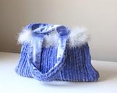 Periwinkle Power Hand-knit Chenille Handbag