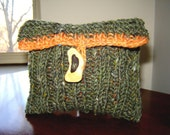 Northern Pine Hand-knit Wool Jewellery/Makeup Pouch